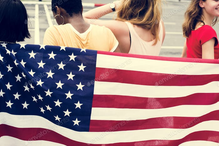Rear view of group of diverse women group with American flag