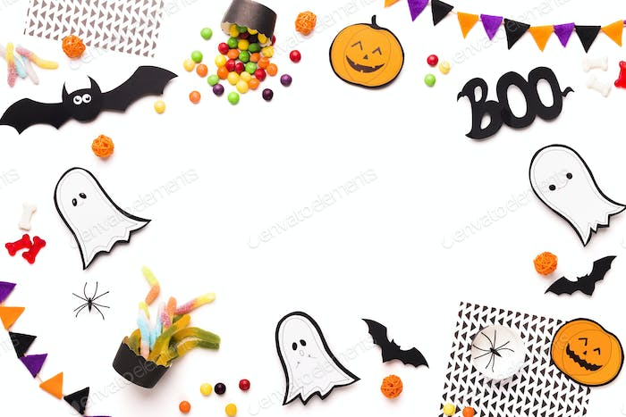 Frame with cute and funny Halloween figures