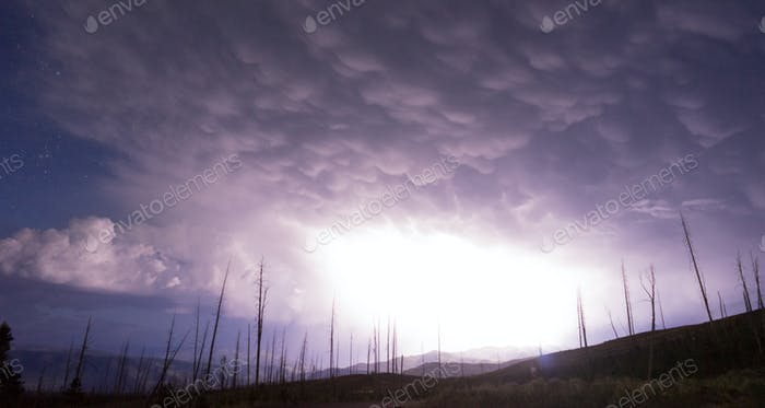 Over Tower Creek Lightningng Strike Yellowstone NP