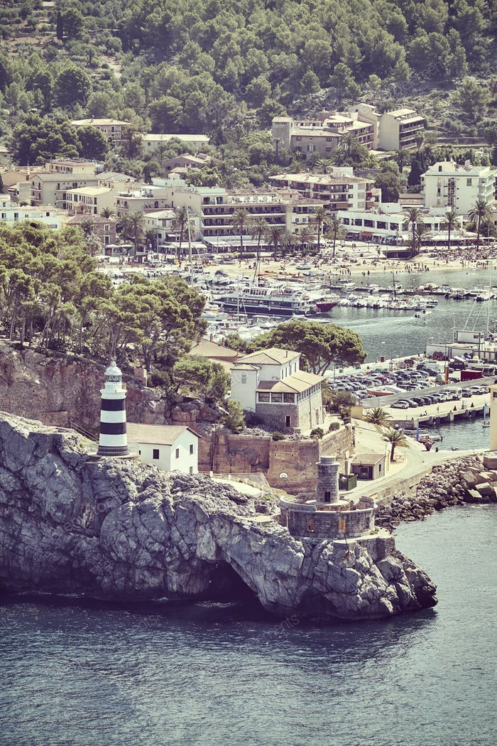 Retro toned picture of Port de Soller, Mallorca.