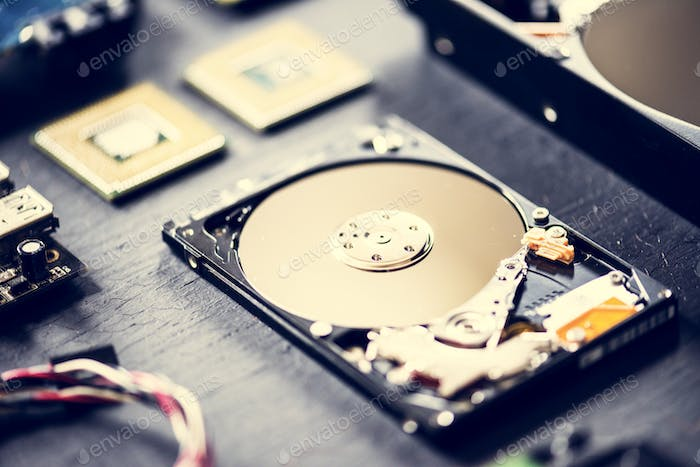 Closeup of computer hard disk drive
