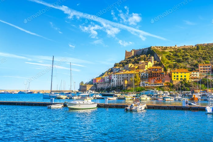 Porto Ercole village and harbour. Argentario, Tuscany, Italy