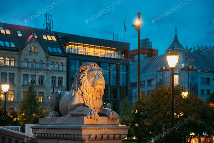 Oslo, Norway. Night View Of Lion Statue Near Storting Building. Parliament Of Norway Building