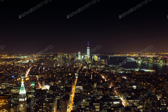 Aerial night view of Manhattan