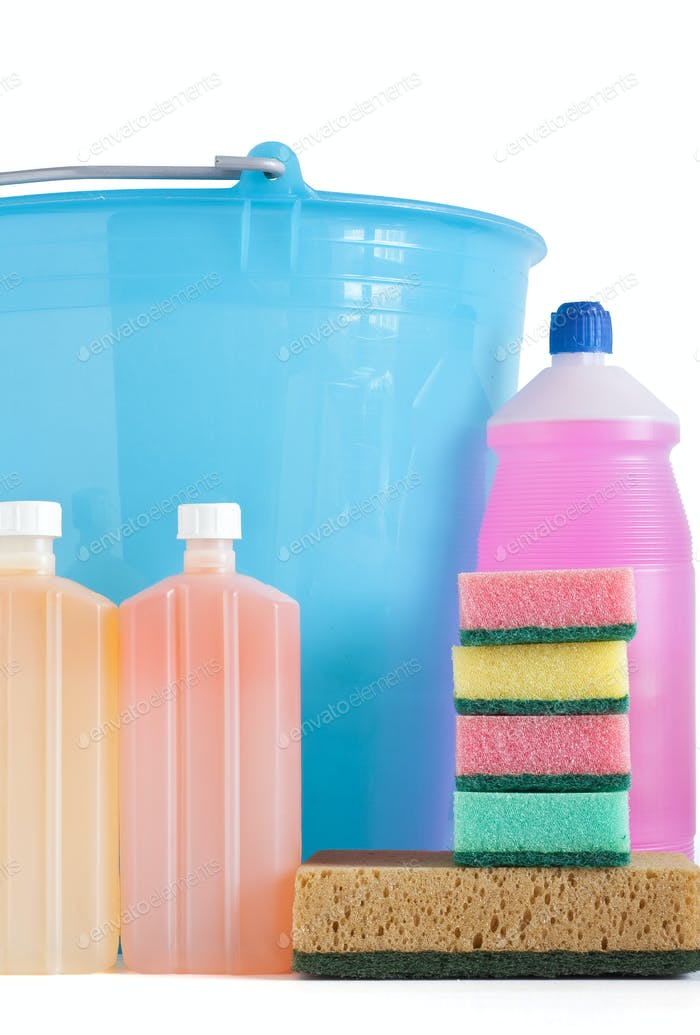 detergent bottles bucket and sponges