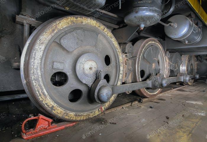 Wheels of the diesel locomotive close up