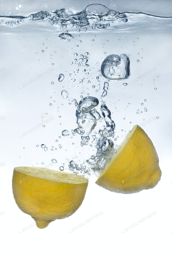 Fresh lemon water splash