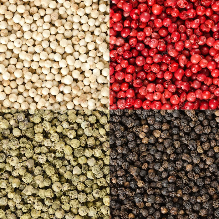 Four variations of peppercorns in a square