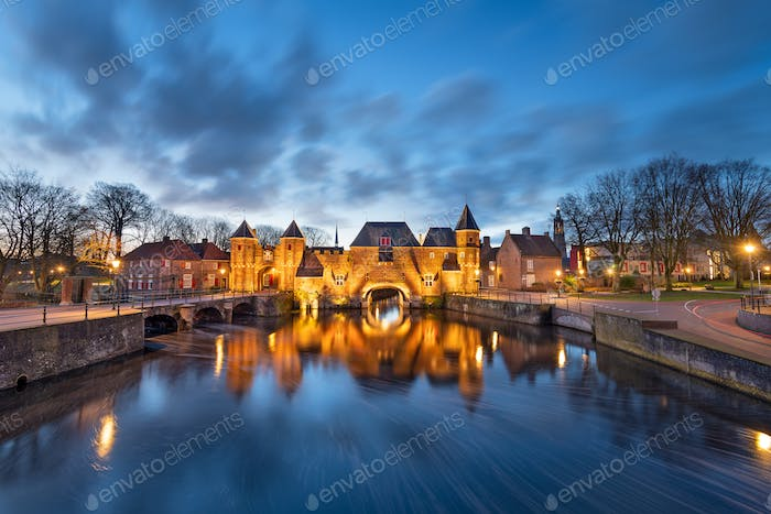 Amersfoort, Netherlands at the Koppelport at dawn.