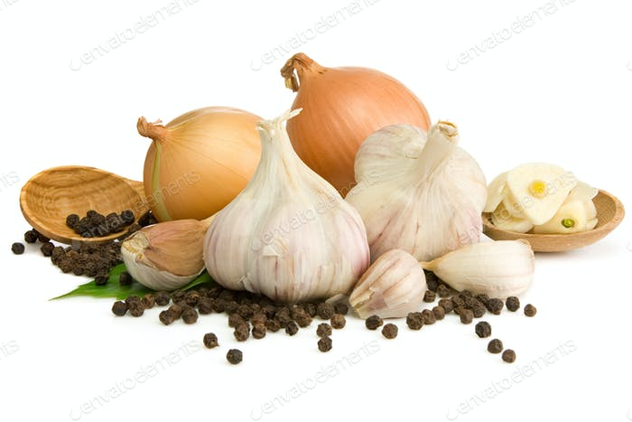 garlic, onion and pepper isolated on white