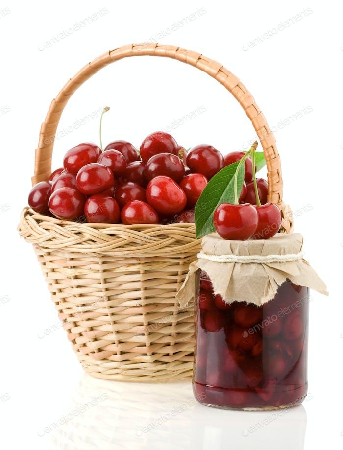 cherry jam isolated on white
