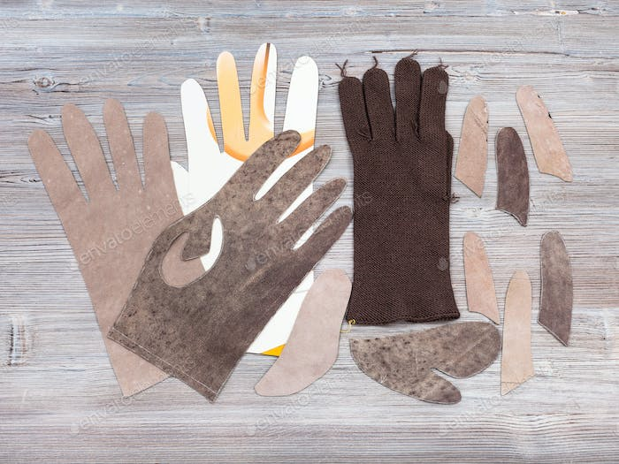 set of items for glove production on table