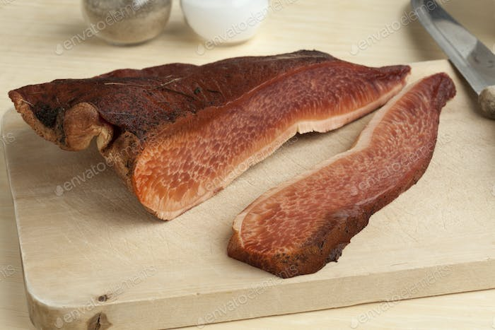 Fresh slice of a beefsteak fungus