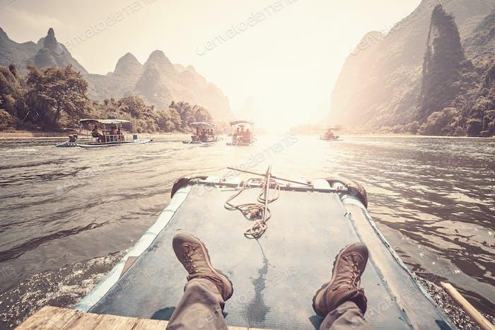 Relax on the Li River bamboo raft, China.