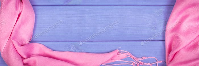 Frame of woolen shawl for woman on boards, clothing for autumn or winter