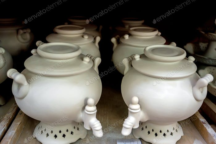 White unpainted earthenware samovars