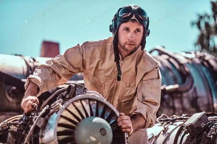 Man with jet's turbine