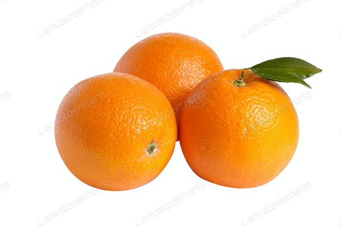 Three oranges on a white.