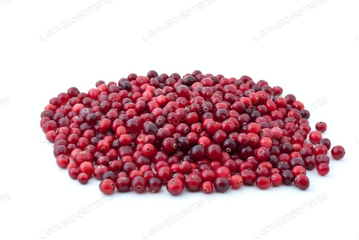 Pile of ripe cranberries