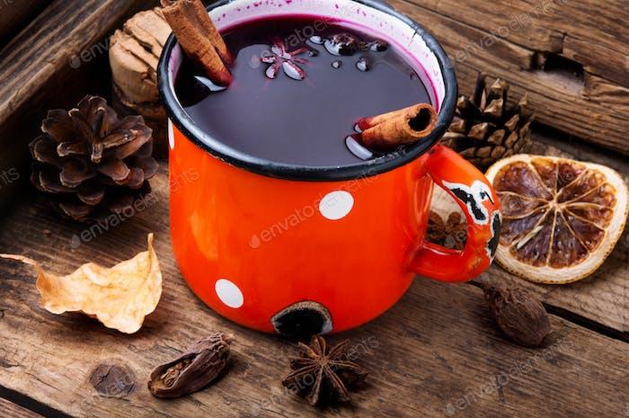 Seasonal warming drink mulled wine