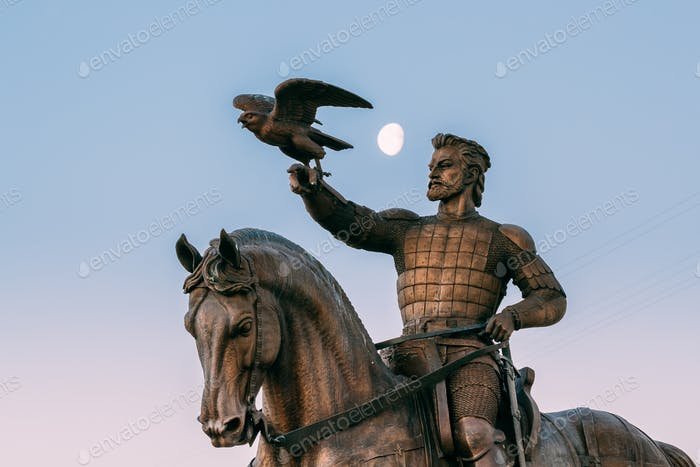 Vitebsk, Belarus. Close View Of Monument To Algirdas With Falcon