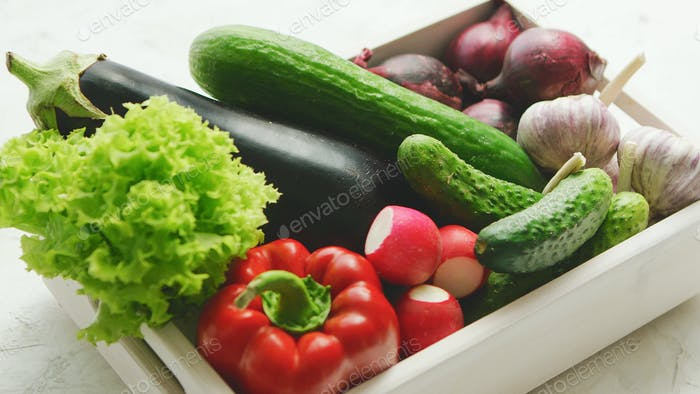Container with vegetable assortment