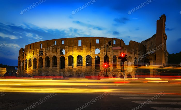 Colosseum and car lights