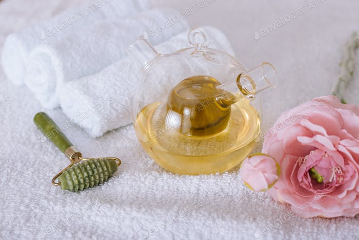 Composition of spa treatment on white background