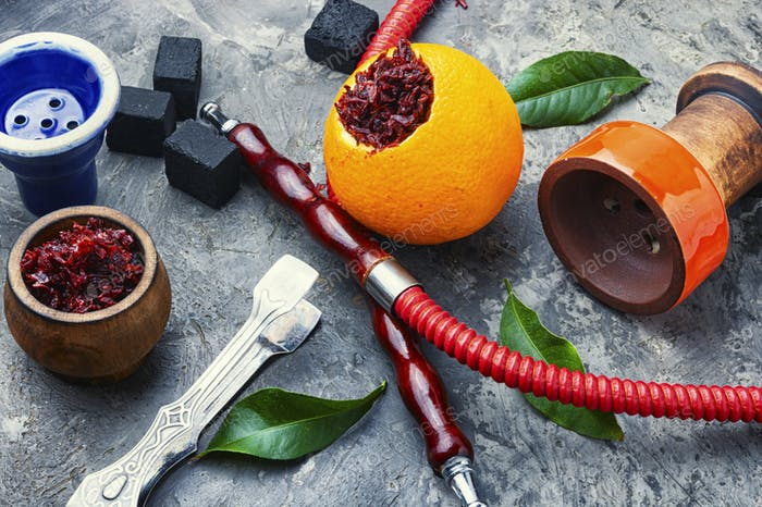 Oriental hookah with orange flavor.