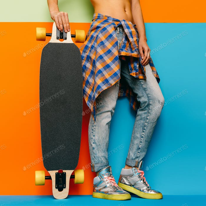 Skateboard Style fashion Girl. Minimal Design. Skateboard and ac