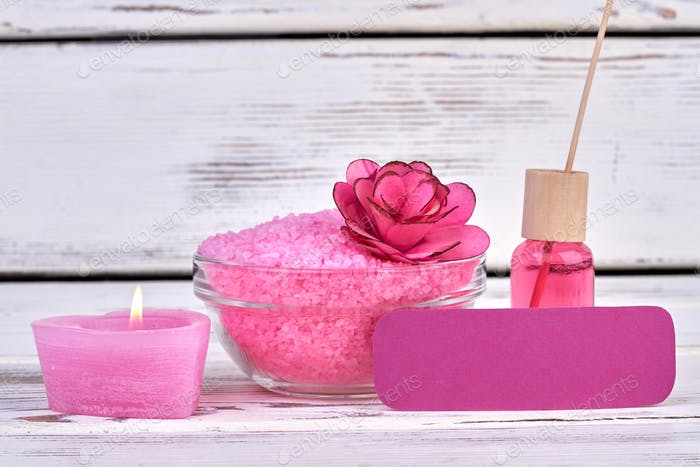 Still life composition pink accessories for spa.