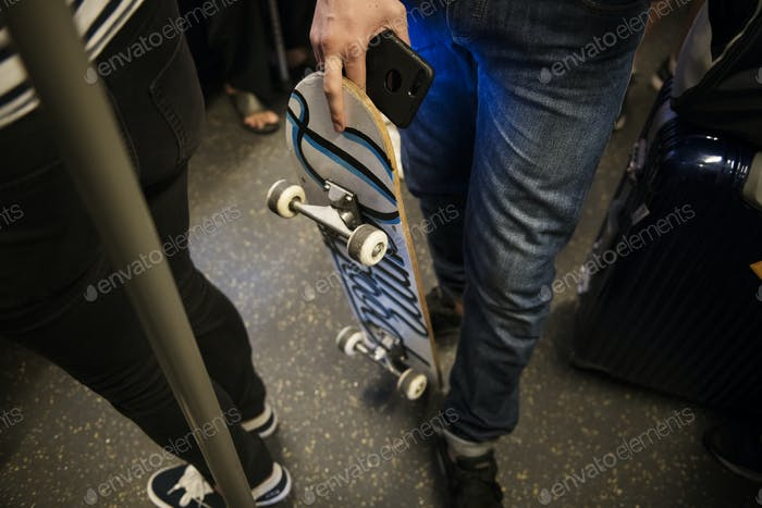 Skater boy on a subway