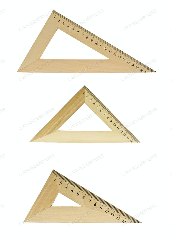 three wooden triangles
