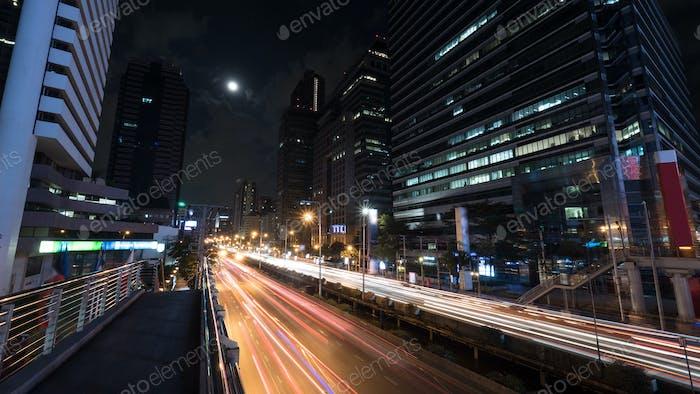 Car traffic in night Bangkok, Thailand