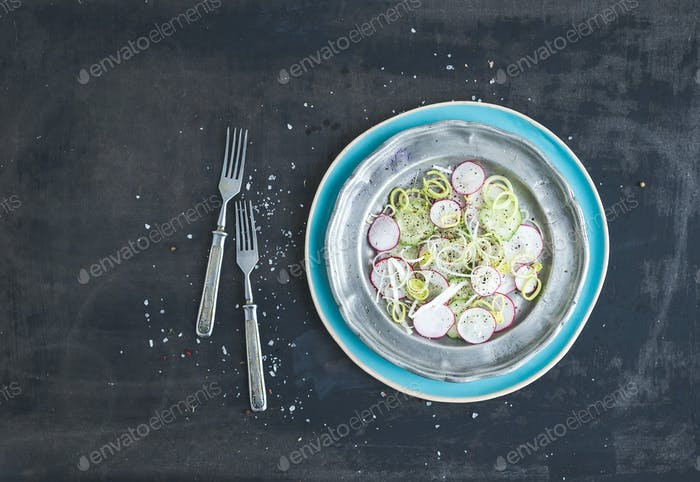 Spring salad with leek, radish and cucumber in vintage metal plate