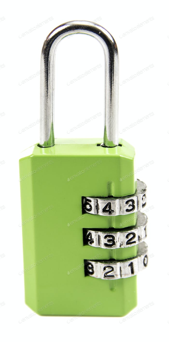 metal combination lock isolated