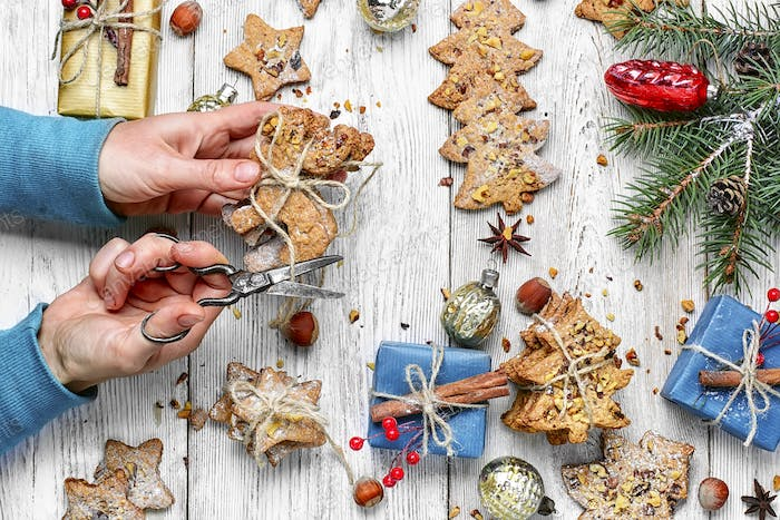 Christmas cookies with gift