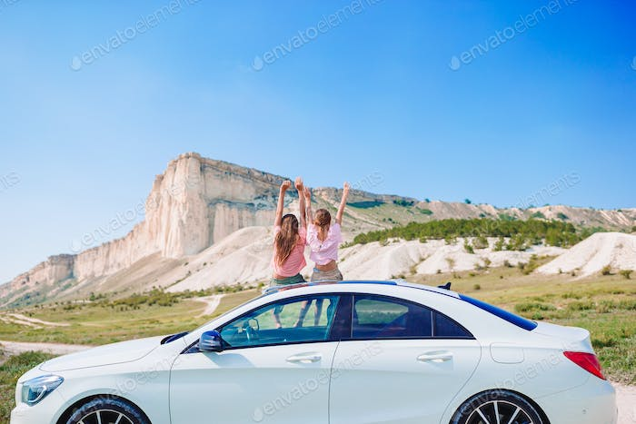 Summer car trip and children on vacation