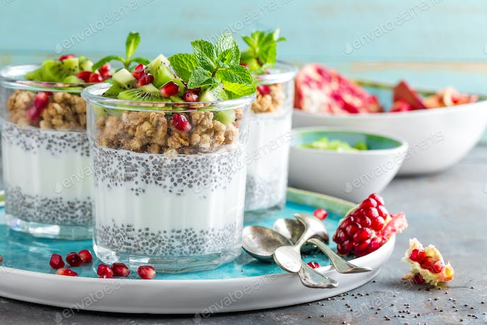 Layered chia pudding parfait with kiwi fruit, pomegranate, granola and yogurt, healthy breakfast