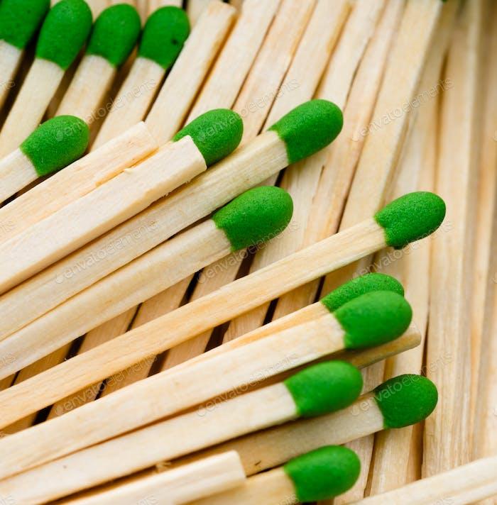 Group Wood Stalk Green Tip Match In Box Matchsticks