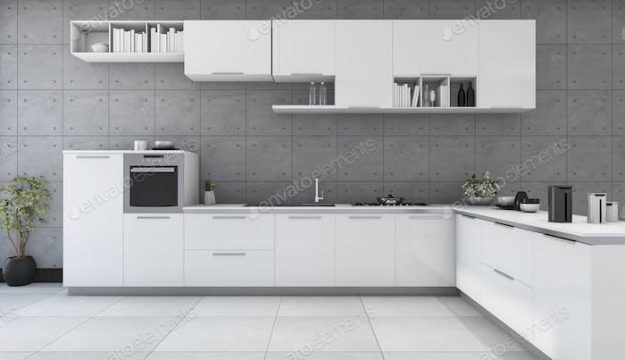 3D Rendering weiße moderne Küche im Loft-Stil Zimmer