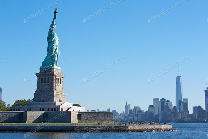 Statue of Liberty island and New York city skyline