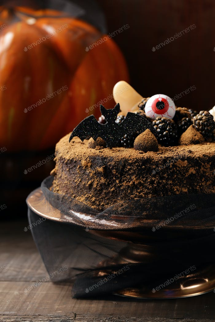 Cake with Halloween Decor