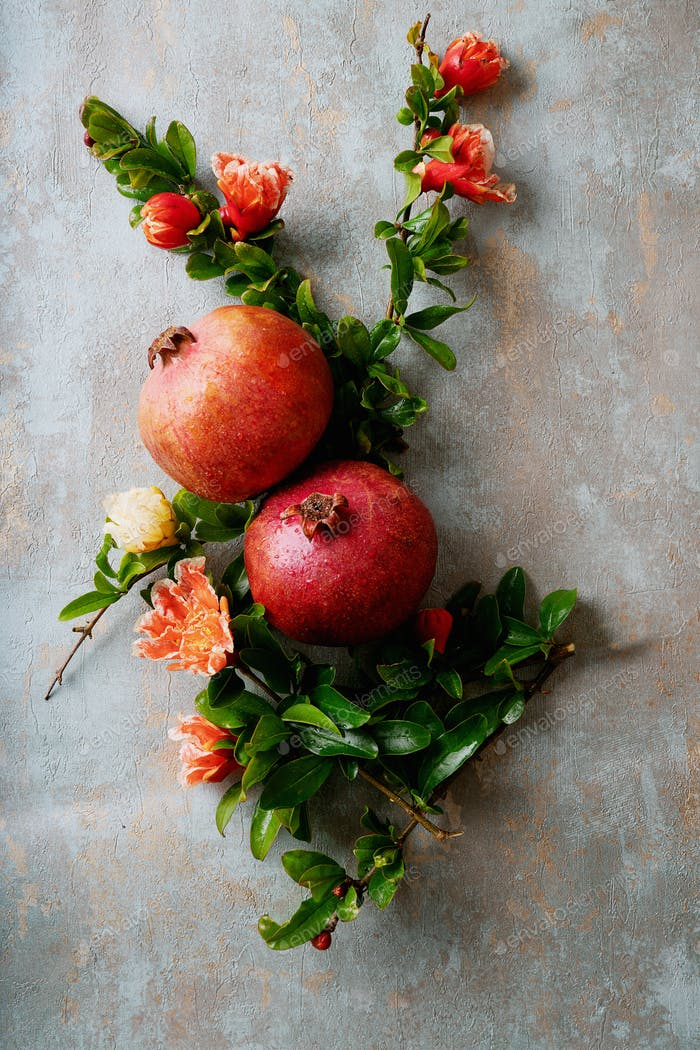 Pomegranate fruits with flowering branches