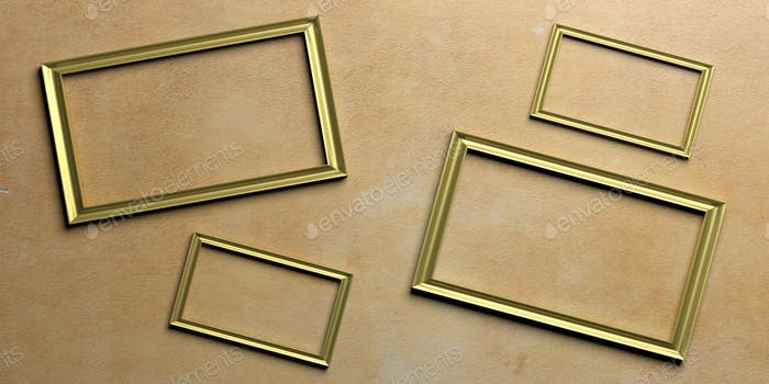 Golden frames on painted wall. 3d illustration
