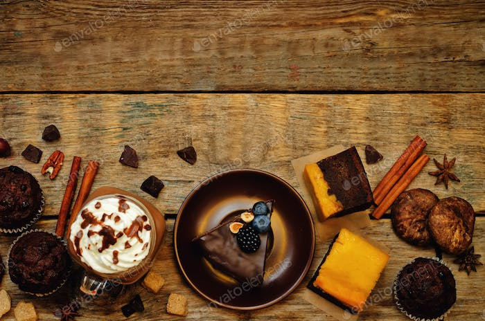 List of chocolate dishes. Cheesecake, muffins, cookies