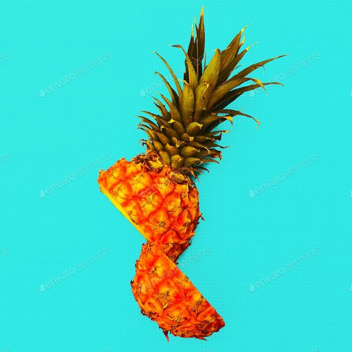 Tropical style. Half a pineapple. Fresh minimal  idea