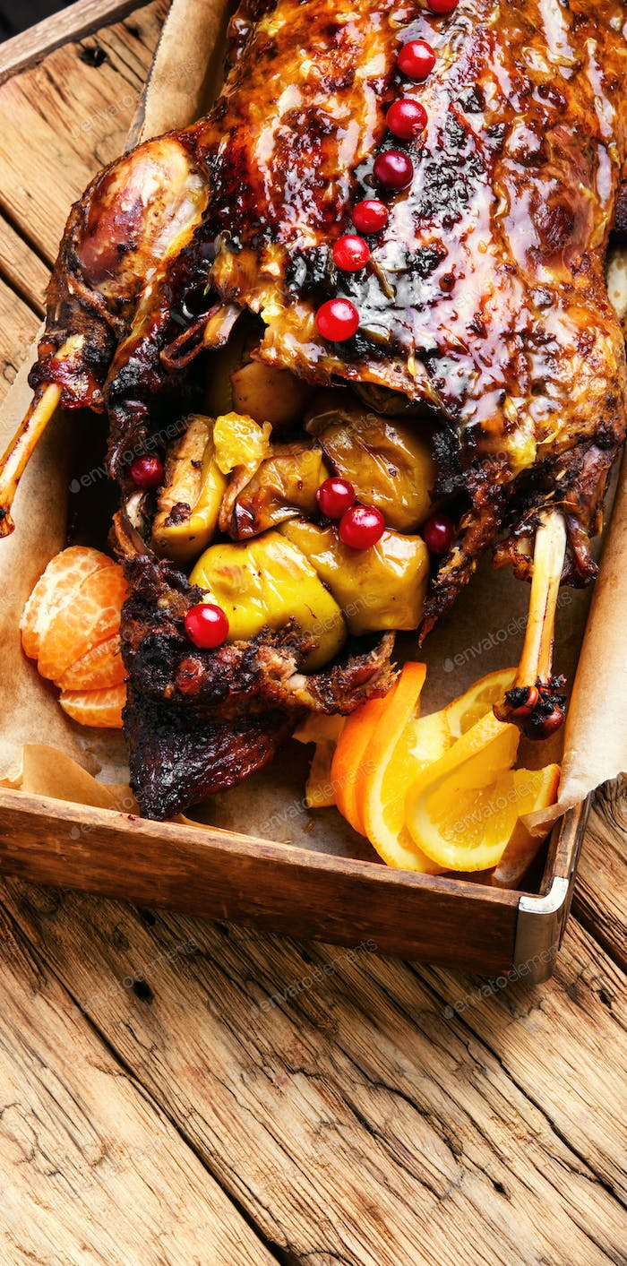 Festive roast duck with orange and cranberries