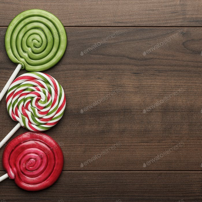 Three Colorful Lollipops