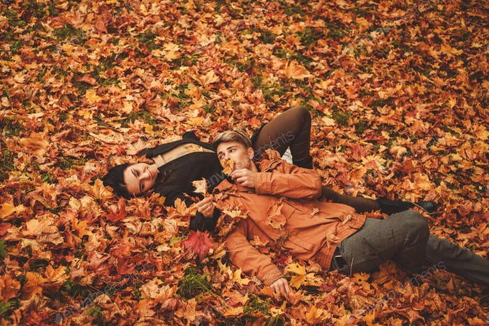 Lovely couple in autumn park